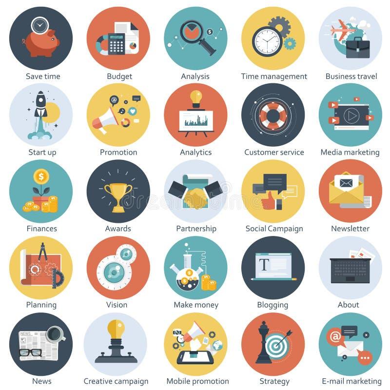 Ζωηρόχρωμο εικονίδιο που τίθεται για την επιχείρηση, τη διαχείριση, την τεχνολογία και τους πόρους χρηματοδότησης Επίπεδα αντικεί διανυσματική απεικόνιση