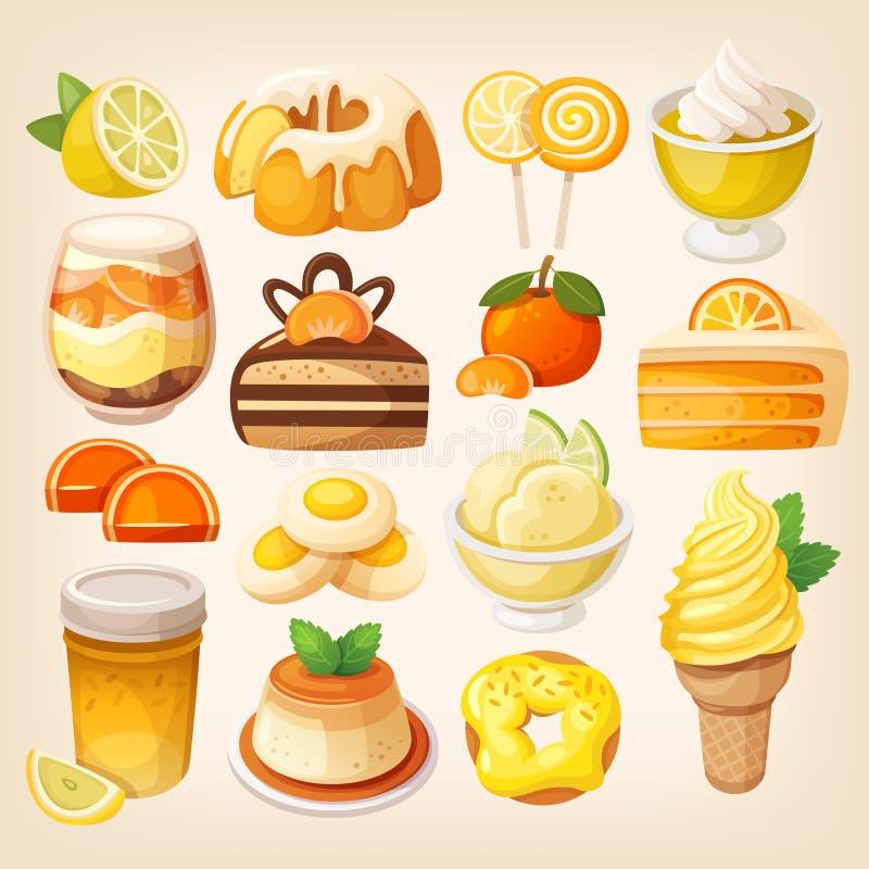 Ζωηρόχρωμο λεμόνι και πορτοκαλιά επιδόρπια διανυσματική απεικόνιση