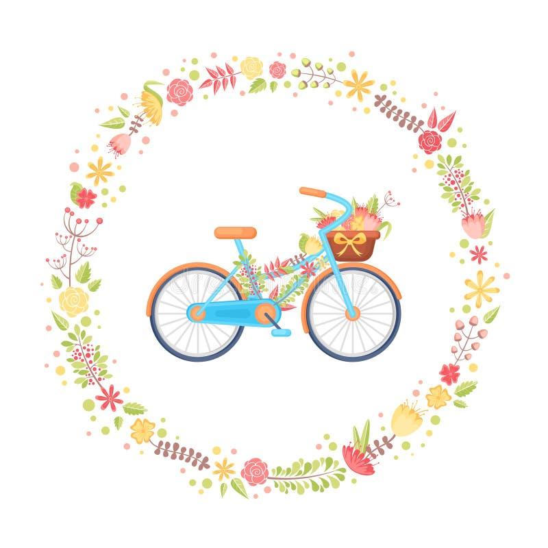 Ζωηρόχρωμο επίπεδο κομψό ποδήλατο με τα λουλούδια στο καλάθι ελεύθερη απεικόνιση δικαιώματος