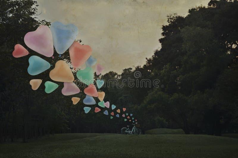 Ζωηρόχρωμο επιπλέον σώμα μπαλονιών αγάπης καρδιών στον αέρα με το ποδήλατο στο πάρκο στοκ εικόνα