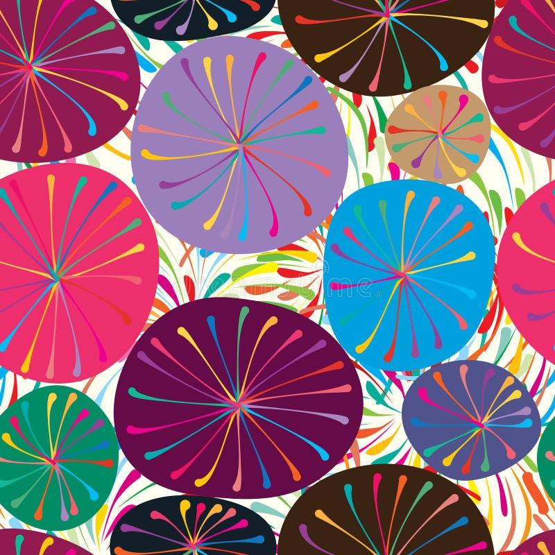 Ζωηρόχρωμο εσωτερικό άνευ ραφής σχέδιο κύκλων διανυσματική απεικόνιση