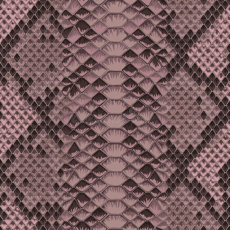 Ζωηρόχρωμο ζωικό ρόδινο άνευ ραφής σχέδιο δερμάτων φιδιών απεικόνιση αποθεμάτων