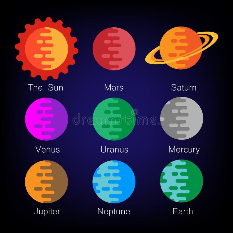 Ζωηρόχρωμο ηλιακών συστημάτων σύνολο εικονιδίων πλανητών διανυσματικό απεικόνιση αποθεμάτων