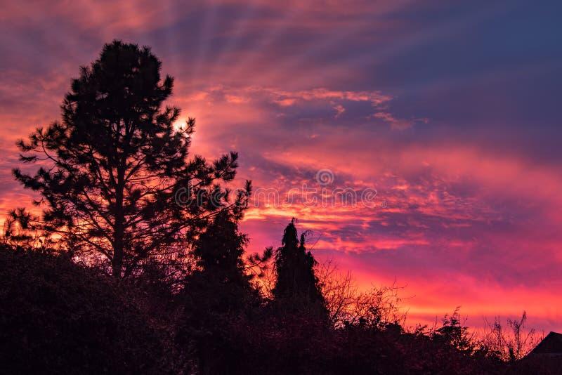 Ζωηρόχρωμο ηλιοβασίλεμα πέρα από την ανατολή Grinstead στοκ φωτογραφία