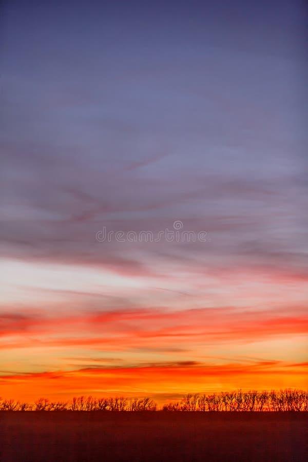 Ζωηρόχρωμο ηλιοβασίλεμα του Κάνσας στοκ εικόνες