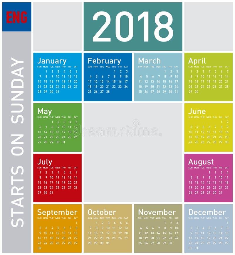Ζωηρόχρωμο ημερολόγιο για το έτος 2018, στα αγγλικά στοκ εικόνα