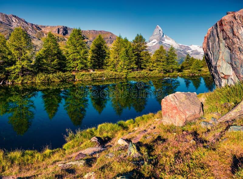 Ζωηρόχρωμο θερινό πρωί στη λίμνη Grindjisee στοκ φωτογραφία
