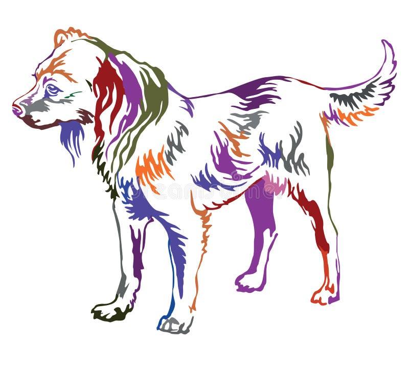 Ζωηρόχρωμο διακοσμητικό μόνιμο πορτρέτο του ρωσικού τεριέ παιχνιδιών σκυλιών ελεύθερη απεικόνιση δικαιώματος