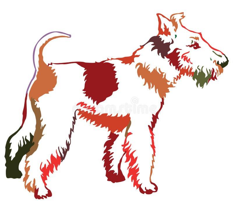 Ζωηρόχρωμο διακοσμητικό μόνιμο πορτρέτο του τεριέ αλεπούδων σκυλιών, διάνυσμα διανυσματική απεικόνιση
