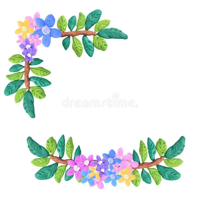 Ζωηρόχρωμο διακοσμητικό floral γλυπτό στοιχείων Plasticine που απομονώνεται στο λευκό διανυσματική απεικόνιση