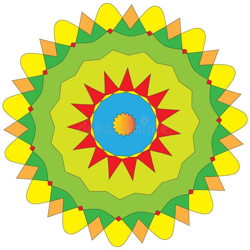ζωηρόχρωμο ινδικό και διανυσματικό mandala χρωματισμού ελεύθερη απεικόνιση δικαιώματος