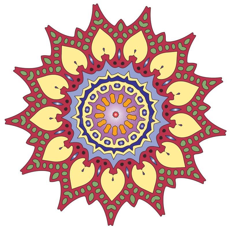Ζωηρόχρωμο ινδικό kaleidoscopic και επεξηγηματικό mandala χρωματισμού απεικόνιση αποθεμάτων