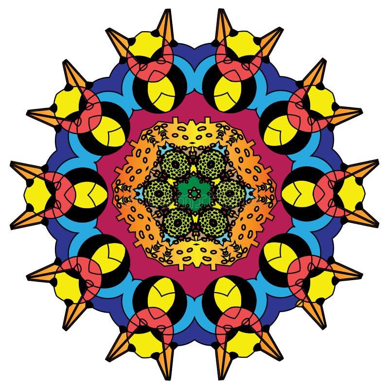 Ζωηρόχρωμο ινδικό kaleidoscopic και επεξηγηματικό mandala χρωματισμού ελεύθερη απεικόνιση δικαιώματος