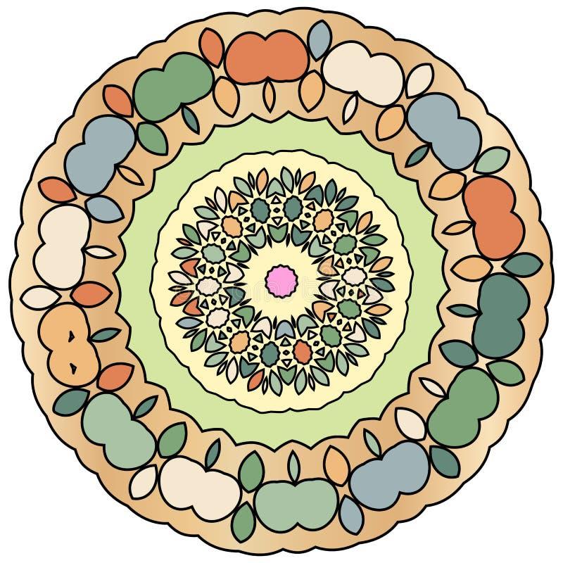 Ζωηρόχρωμο ινδικό kaleidoscopic και επεξηγηματικό mandala χρωματισμού διανυσματική απεικόνιση
