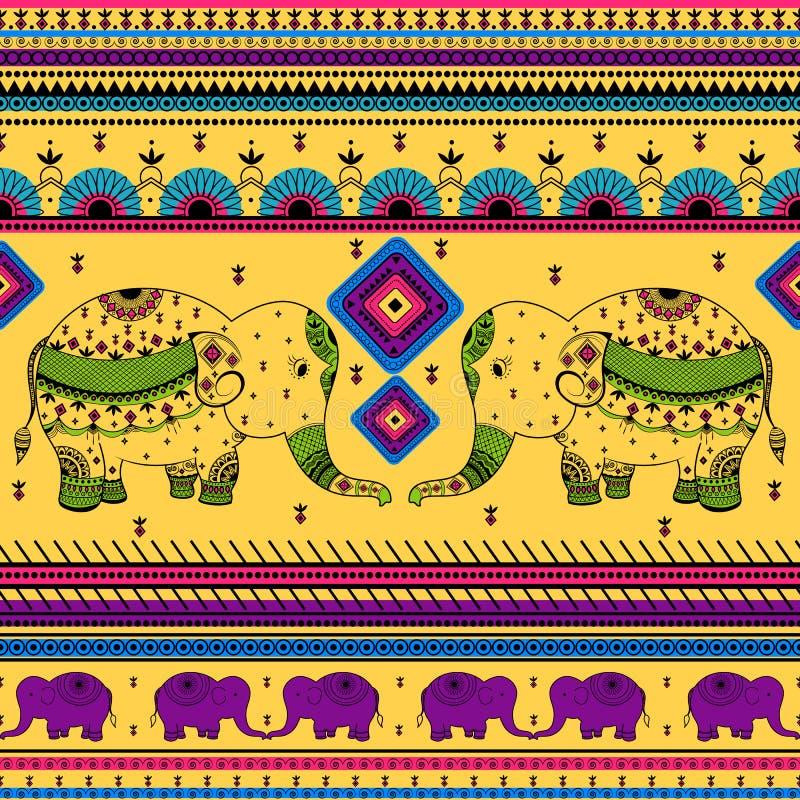 Ζωηρόχρωμο ινδικό φυλετικό άνευ ραφής σχέδιο απεικόνιση αποθεμάτων