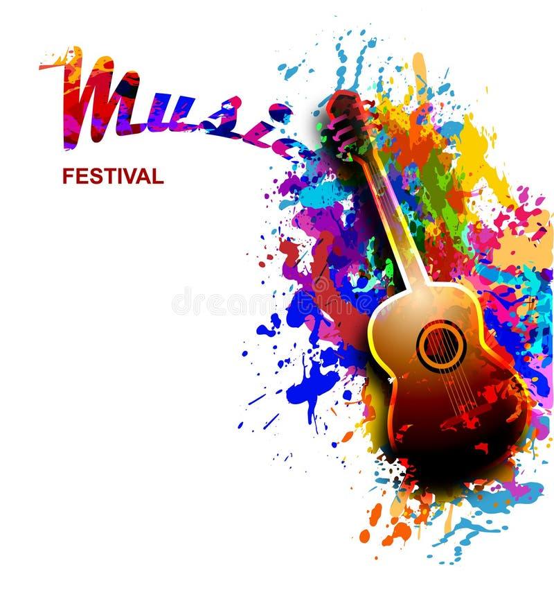 Ζωηρόχρωμο ιπτάμενο φεστιβάλ μουσικής, έμβλημα με την κιθάρα διανυσματική απεικόνιση