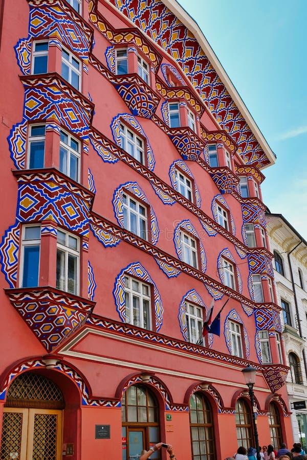 Ζωηρόχρωμο ιστορικό κτήριο, Λουμπλιάνα, Σλοβενία στοκ φωτογραφίες