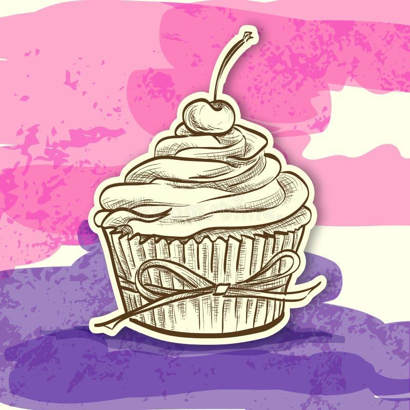 Ζωηρόχρωμο κέικ αυτοκόλλητων ετικεττών διανυσματική απεικόνιση