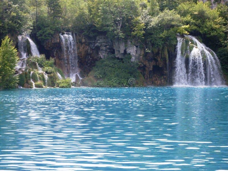 Ζωηρόχρωμο και δονούμενο τοπίο της ακτής λιμνών Ήρεμο τοπίο χρήσιμο ως υπόβαθρο Χαμηλότερο φαράγγι λιμνών Λίμνες Plitvice εθνικές στοκ φωτογραφία με δικαίωμα ελεύθερης χρήσης