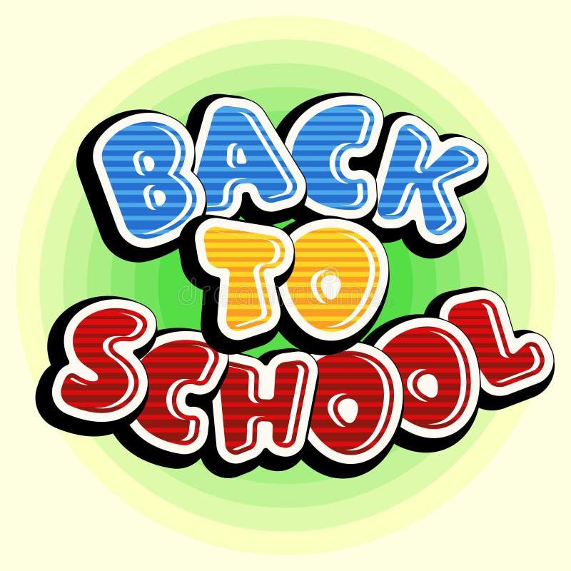 Ζωηρόχρωμο κείμενο πίσω στο σχολείο στο πράσινο στρογγυλό υπόβαθρο διανυσματική απεικόνιση