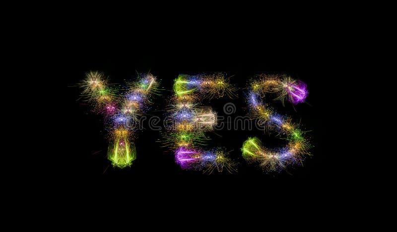 Ζωηρόχρωμο κείμενο πυροτεχνημάτων ΝΑΙ - κινητήρια έννοια στοκ φωτογραφία με δικαίωμα ελεύθερης χρήσης