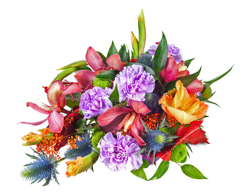 Ζωηρόχρωμο κεντρικό τεμάχιο ρύθμισης ανθοδεσμών λουλουδιών που απομονώνεται στο μόριο στοκ φωτογραφία