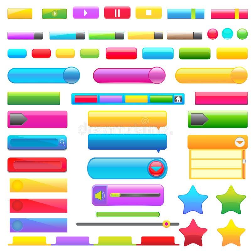 Ζωηρόχρωμο κουμπί Ιστού διανυσματική απεικόνιση