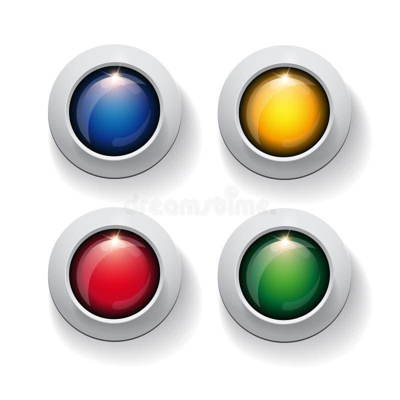 Ζωηρόχρωμο κουμπί κύκλων που τίθεται στο λευκό διανυσματική απεικόνιση