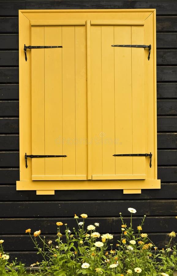 Ζωηρόχρωμο κλείνω με παντζούρια παράθυρο στοκ φωτογραφία με δικαίωμα ελεύθερης χρήσης