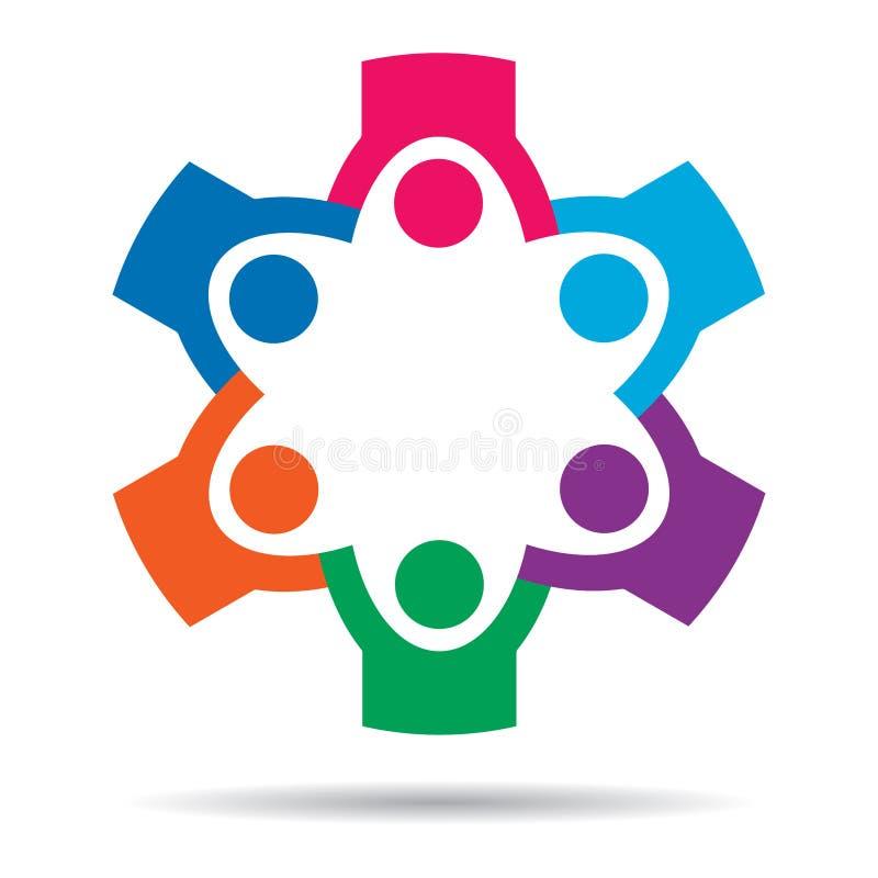 Ζωηρόχρωμο λογότυπο ανθρώπων εργασίας ομάδας διανυσματική απεικόνιση