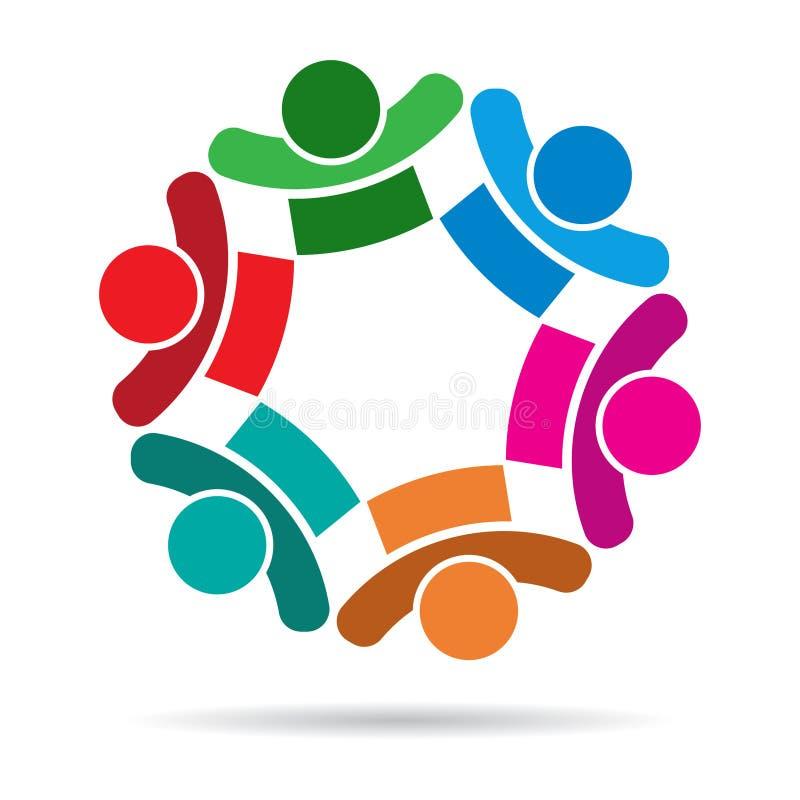 Ζωηρόχρωμο λογότυπο ανθρώπων εργασίας ομάδας ελεύθερη απεικόνιση δικαιώματος