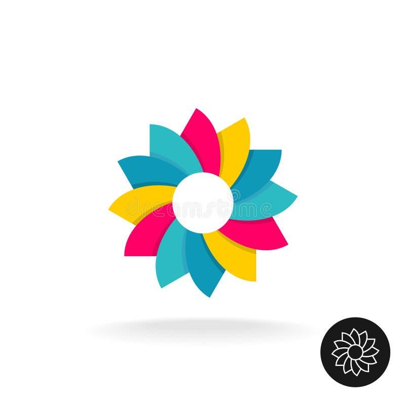 Ζωηρόχρωμο λογότυπο λουλουδιών ήλιων Αφηρημένο σύμβολο με την παραλλαγή περιλήψεων ελεύθερη απεικόνιση δικαιώματος