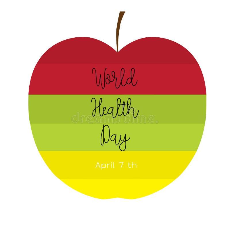 Ζωηρόχρωμο μήλο με το κείμενο ελεύθερη απεικόνιση δικαιώματος