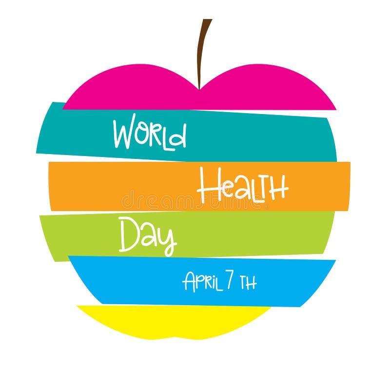 Ζωηρόχρωμο μήλο με το κείμενο διανυσματική απεικόνιση