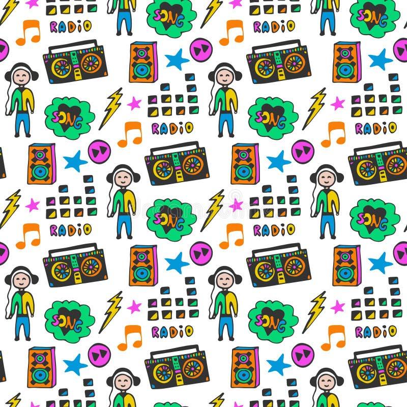 Ζωηρόχρωμο μουσικό άνευ ραφής σχέδιο Χρώματα διασκέδασης Υπόβαθρο μουσικής Doodle διανυσματική απεικόνιση