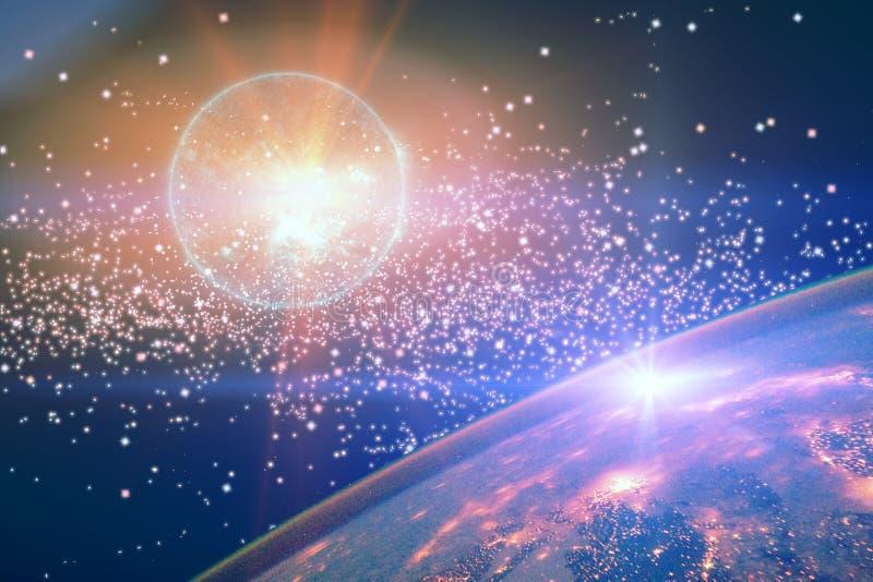Ζωηρόχρωμο νεφέλωμα αστεριών στο μακρινό διάστημα Πλανήτης Γη και έκρηξη της σουπερνόβας στον ανοιχτό χώρο ενάντια στα αστέρια Τα διανυσματική απεικόνιση