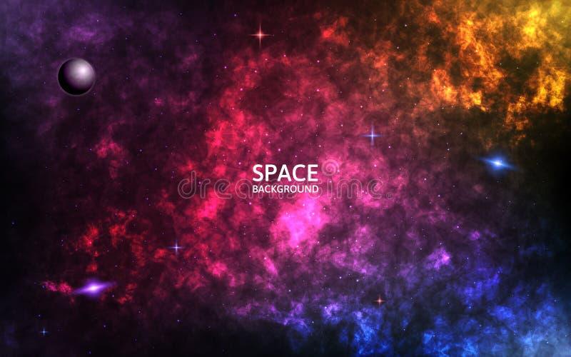 ζωηρόχρωμο νεφέλωμα Ρεαλιστικό διαστημικό υπόβαθρο Σκηνικό κόσμου χρώματος Σπειροειδής γαλαξίας και λάμποντας αστέρια Πλανήτης κα διανυσματική απεικόνιση