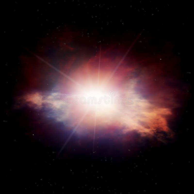 Ζωηρόχρωμο νεφέλωμα με τα σύννεφα αερίου και το λάμποντας αστέρι διανυσματική απεικόνιση