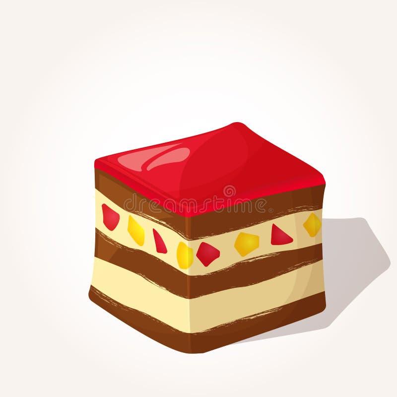 Ζωηρόχρωμο νόστιμο κομμάτι του κέικ με τη ζελατίνα στο ύφος κινούμενων σχεδίων που απομονώνεται στο άσπρο υπόβαθρο επίσης corel σ ελεύθερη απεικόνιση δικαιώματος