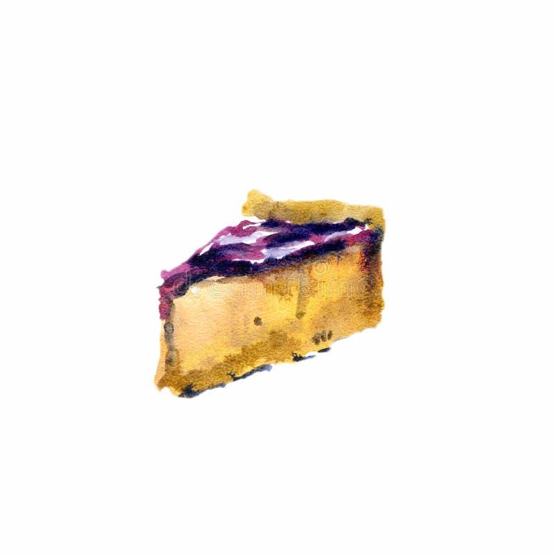 Ζωηρόχρωμο νόστιμο κομμάτι του κέικ με τη ζελατίνα στο ύφος κινούμενων σχεδίων που απομονώνεται στο άσπρο υπόβαθρο απεικόνιση αποθεμάτων