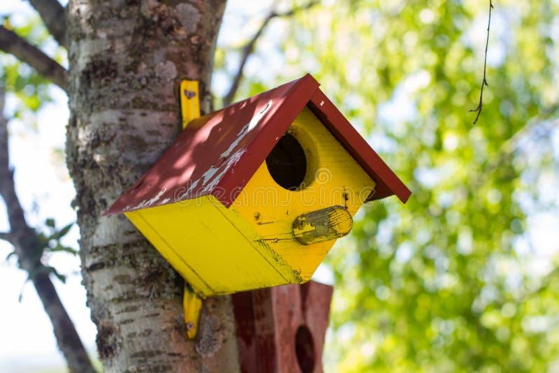Ζωηρόχρωμο ξύλινο σπίτι πουλιών στοκ εικόνες με δικαίωμα ελεύθερης χρήσης