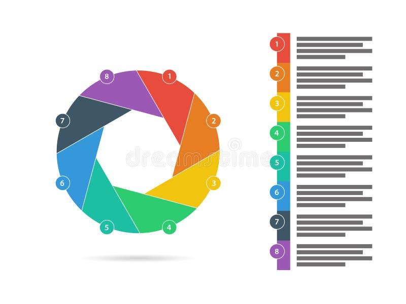 Ζωηρόχρωμο οκτώ πλαισιωμένο επίπεδο παραθυρόφυλλων γρίφων διάνυσμα διαγραμμάτων διαγραμμάτων παρουσίασης infographic ελεύθερη απεικόνιση δικαιώματος