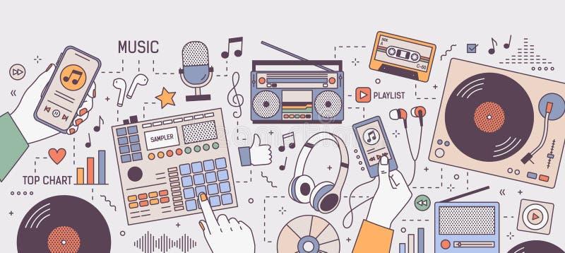 Ζωηρόχρωμο οριζόντιο έμβλημα με τα χέρια και τις συσκευές για τη μουσική που παίζει και που ακούει - φορέας, boombox, ραδιόφωνο,  ελεύθερη απεικόνιση δικαιώματος