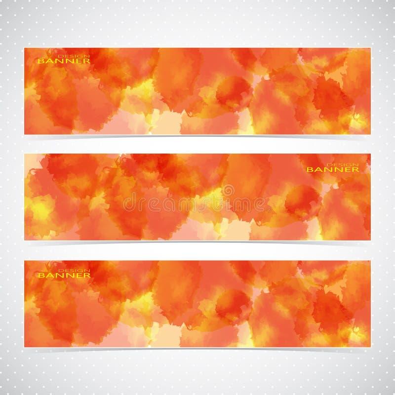 Ζωηρόχρωμο οριζόντιο σύνολο με το χρώμα watercolor απεικόνιση αποθεμάτων