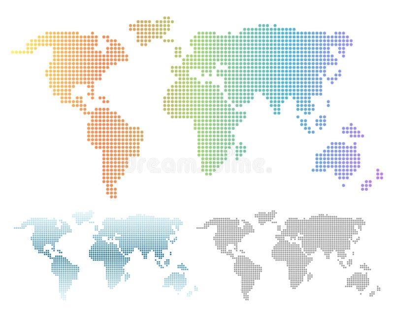 Ζωηρόχρωμο ουράνιο τόξο και μπλε διαστιγμένος κλίση παγκόσμιος χάρτης διανυσματική απεικόνιση