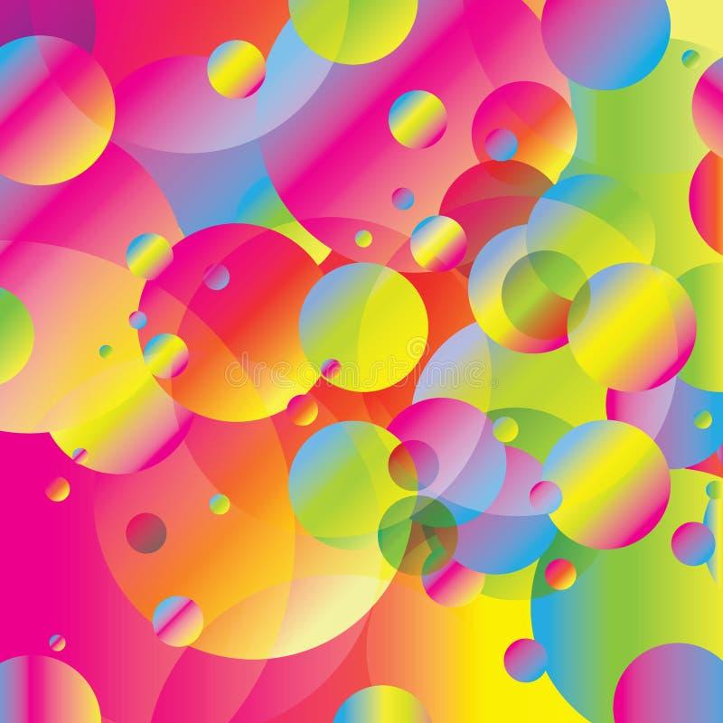 Ζωηρόχρωμο ουράνιων τόξων υπόβαθρο απεικόνισης τέχνης φυσαλίδων γεωμετρικό στοκ εικόνες