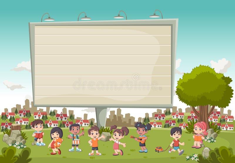 Ζωηρόχρωμο πάρκο στην πόλη με ένα μεγάλο παιχνίδι παιδιών πινάκων διαφημίσεων και κινούμενων σχεδίων απεικόνιση αποθεμάτων