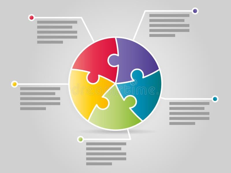 Ζωηρόχρωμο πέντε πλαισιωμένο infographic πρότυπο παρουσίασης γρίφων κύκλων διανυσματική απεικόνιση