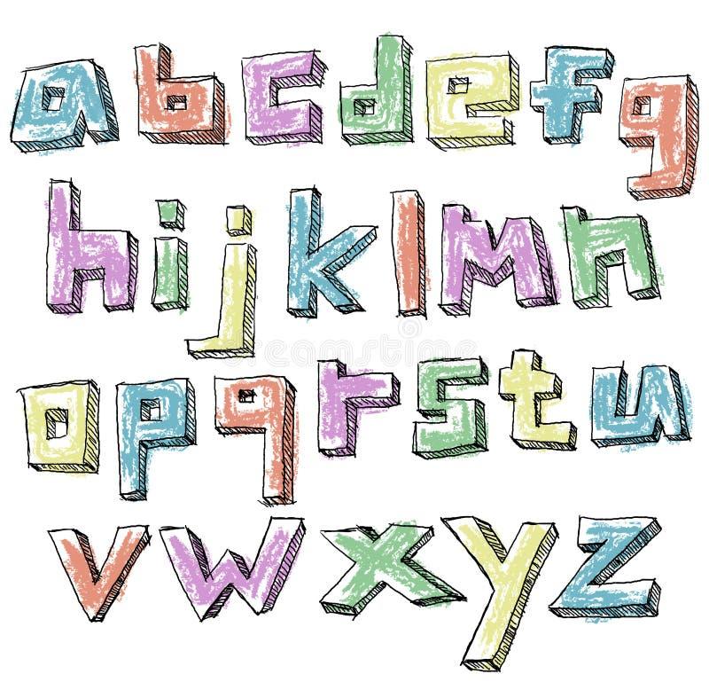 Ζωηρόχρωμο περιγραμματικό συρμένο χέρι πεζό αλφάβητο απεικόνιση αποθεμάτων