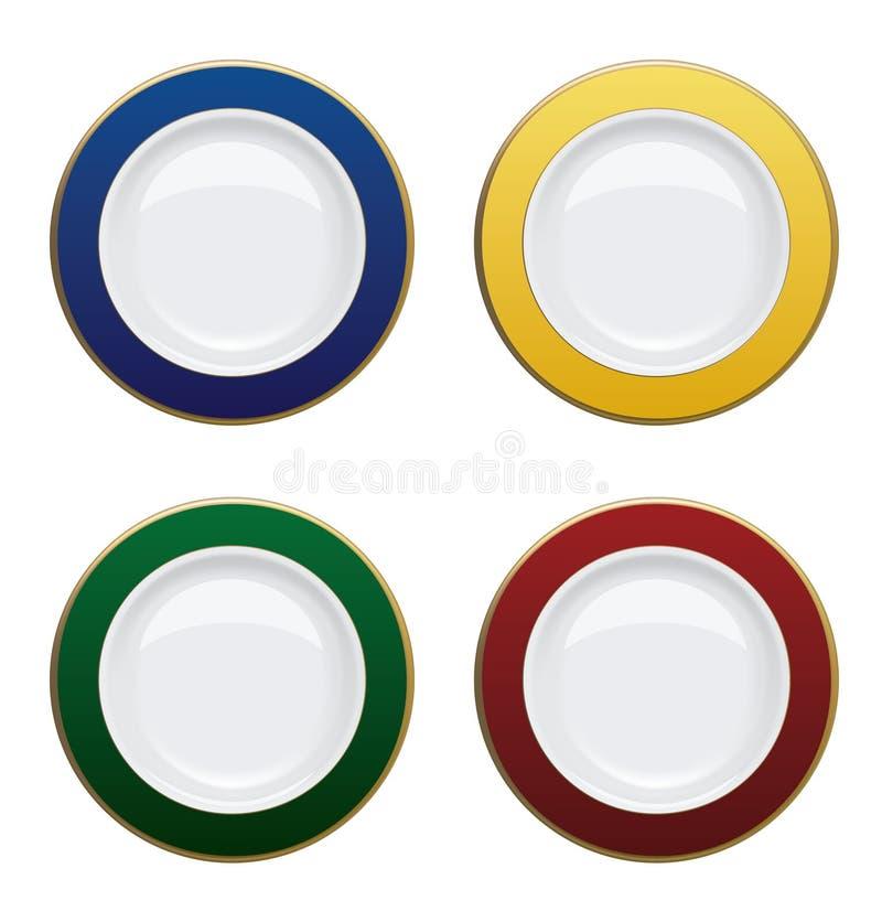 Ζωηρόχρωμο πιάτο με τα χρυσά πλαίσια στο άσπρο υπόβαθρο Διανυσματικό Illust διανυσματική απεικόνιση